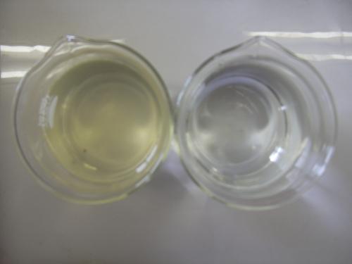 左:ろ過塔入口(原水)、右:ろ過塔出口(処理水)